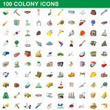 100 colony icons set, cartoon style. 100 colony icons set in cartoon style for any design vector illustration Stock Image