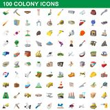 100 colony icons set, cartoon style. 100 colony icons set in cartoon style for any design illustration royalty free illustration