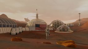 Colony on Mars. Astronaut saluting the American flag. Exploring Mission To Mars. Futuristic Colonization and Space stock video