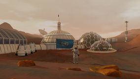 Colony on Mars. Astronaut saluting the UN flag. Exploring Mission To Mars. Futuristic Colonization and Space Exploration stock footage