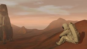 Colony on Mars. Astronaut sitting on Mars and admiring the scenery. Exploring Mission To Mars. Futuristic Colonization