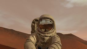 Colony on Mars. Astronaut sitting on Mars and admiring the scenery. Exploring Mission To Mars. Futuristic Colonization stock video footage