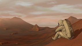 Colony on Mars. Astronaut sitting on Mars and admiring the scenery. Exploring Mission To Mars. Futuristic Colonization stock video