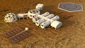 The colony on Mars. Autonomous life on Mars. 3D rendering Stock Image