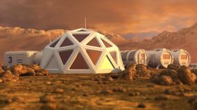 Storage warehouse. The colony on Mars. Autonomous life on Mars. 3D rendering Royalty Free Stock Photography