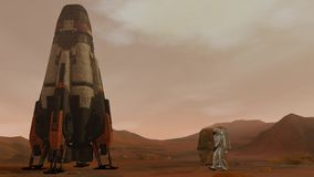 Colony on mars. Two astronauts walking on the surface of mars. Exploring mission to mars. Futuristic colonization and stock video footage