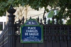 Coloque a Charles De Gaulle en París Foto de archivo libre de regalías