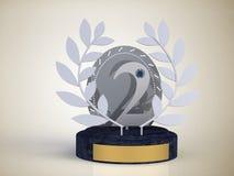 Coloque a concessão para a segunda competição do lugar na prata em um suporte Imagens de Stock Royalty Free