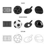 Coloque, estadio con las marcas para jugar al fútbol, bola del fútbol, estafa con una bola para el ping-pong, casco protector Imagenes de archivo