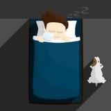 Coloque a ilustração do estilo de vida dos desenhos animados do homem do salário do tempo de sono ilustração stock