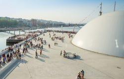 Coloque o canto do centro de Niemeyer em Aviles, Espanha Fotografia de Stock Royalty Free