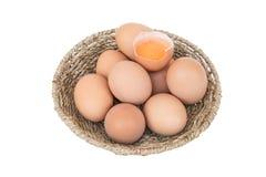 Coloque os ovos em uma cesta imagem de stock