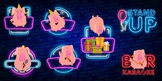 Coloque para arriba a la comedia con el cerdo 2019 es una señal de neón Logotipo de neón, bandera luminosa brillante, cartel de n ilustración del vector
