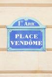 Coloque Vendome assinam dentro Paris Fotografia de Stock