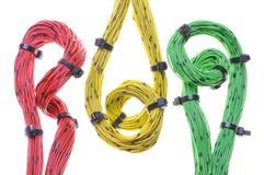 Cables coloridos del ordenador del lazo y de la torsión Fotografía de archivo