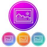 Coloré, circulaire, icône de cadre de tableau de gradient Quatre variations de couleur illustration stock