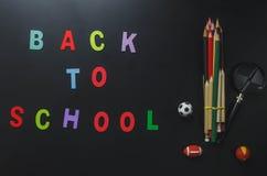 ` Coloré d'alphabet de vue supérieure DE NOUVEAU au ` d'ÉCOLE Image libre de droits