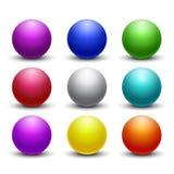 Coloré 3D boules brillantes et brillantes, ensemble de vecteur de sphères Photos stock