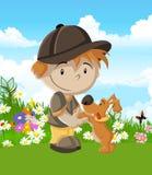 Coloré d'un petit garçon heureux avec un chien Images stock
