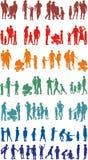 Coloré de famille silhouetté (vecteurs) Photographie stock