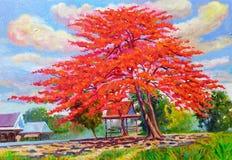 Coloré de la fleur rouge et de l'émotion de paon en nuage illustration libre de droits