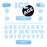 Coloré de stylisé sous les alphabets de glace pour l'éducation ou l'usage des enfants pour des titres aux jeux sur Internet, basé illustration libre de droits