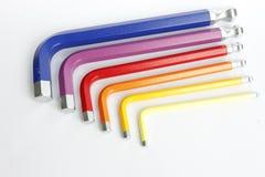 Coloré des trousses à outils d'Allen d'hexagone Images stock