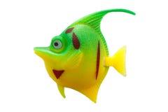 Coloré en plastique de jouet de poissons sur d'isolement Images libres de droits