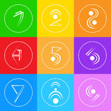 Coloré simple abstrait de Logo Icons Set Thin Line Photographie stock libre de droits