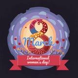 Coloré, vecteur, design de carte de salutation de style de bande dessinée pour le 8 mars, jour international du ` s de femmes Photo libre de droits