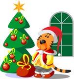 Color 03 de Navidad del invierno del tigre Foto de archivo libre de regalías