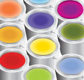 Color. Multicoloured paints in the silver buckets Vector Illustration
