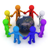 Color 3D men in a circle. Colorful 3D men standing together in circle Stock Images