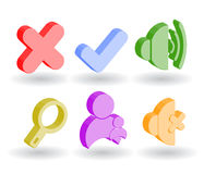 Color 3d web icons. Many color 3d web icons royalty free illustration