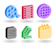 Color 3d web icons. Many color 3d web icons Royalty Free Stock Image