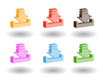 Color 3d web icons. Vector illustration. Set of color 3d web icons stock illustration