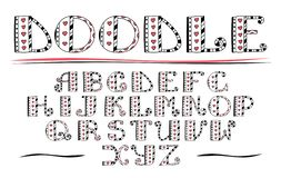 Color ABC. Vector hand drawn alphabet. Doodle lettering collecti. On. Hearts and lines vector illustration