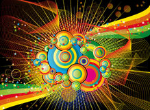Color abstract background with circles nad stars Royalty Free Stock Photo