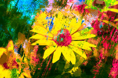 Color abstract background with yellow flower Royalty Free Stock Image