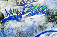 Color abstract drawing painted on glass close up stock images