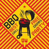 Color abstract illustration with Barbecue grill Royalty Free Stock Photography