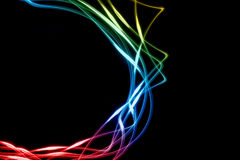Color abstract lines. On black background stock illustration
