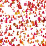 Color abstract random Christmas background decoration - stylized pine tree pattern holiday vector graphic design Stock Photography