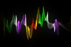 Color abstract sound wave. On black background Royalty Free Stock Photos