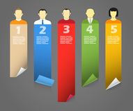 Color account avatars with bending paper banners. Template for a text Stock Images