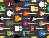 Color acoustic and electric guitars. Seamless background of color acoustic and electric guitars Stock Images