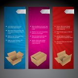 Color advertisement card set with boxes Stock Photos
