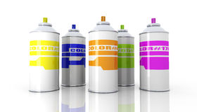 Color Aerosol Cans Royalty Free Stock Images