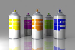 Color Aerosol Cans royalty free illustration