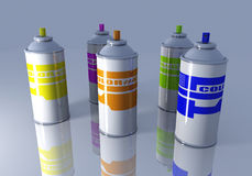 Color Aerosol Cans Royalty Free Stock Photography